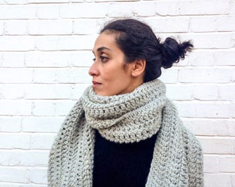 Chunky Infinity Grey scarf / Extra Long / Ines/ Wool