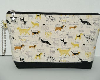 "Large Padded Zipper Pouch/Pencil Case/Cosmetic Case with Pocket Made with Japanese Cotton Linen Fabric ""Dog Dictionary"""