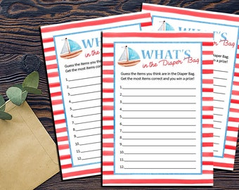 Nautical Diaper Bag Shower Games-DIGITAL INVITATION-Printable Invite Card - Ahoy Ocean Sailboat What's in the Diaper Bag Shower Game