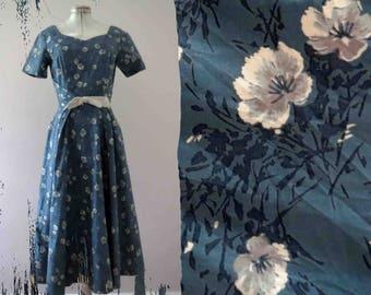 Vintage 50s 60s Duck Egg Blue Day Dress Miss Brooks New York Mad Men Medium