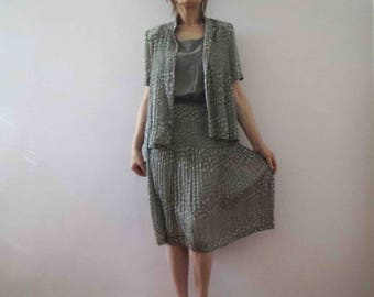 Vintage 80s Sage Green Micro Pleated Dress with Pleated Jacket Small
