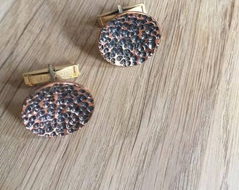 Modernist Abstract Brutalist Cufflinks Jewelry copper and brass