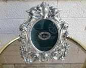 Elias Silver and Fine Pewter Picture Frame Cherub Angels and Goddess Baroque Never Used Gorgeous