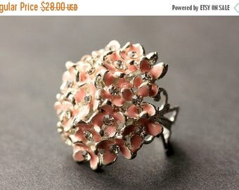 BACK to SCHOOL SALE Pink Flower Bouquet Ring. Pink Flower Ring. Rhinestone Ring. Pink Ring. Silver Button Ring. Adjustable Ring. Handmade Je