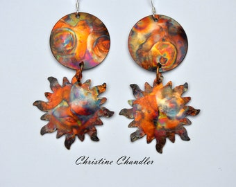 Sun and Moon - Copper Earrings - Flame Painted Copper Earrings - Moon and Sun - Long Dangle Earrings - Copper Jewelry - Sun and Moon Jewelry