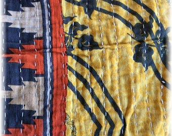 """Vintage Indian Kantha Quilt Remnant 26"""" x 50"""" in GOLD, ORANGE and NAVY for Use in Your Creative Inspirations!"""