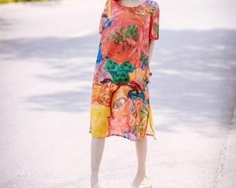 Loose linen long dress printing sundress