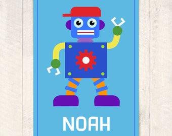 Kids Personalize Robots Unframed Art Print, Robots Art Print, Robots Unframed Print, Robots Boys Nursery Decor, Nursery Print, Boys Print