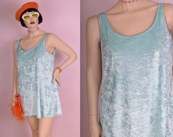 90s Blue Crushed Velvet Micro Mini Dress/ XL/ 1990s/ Tank/ Sleeveless