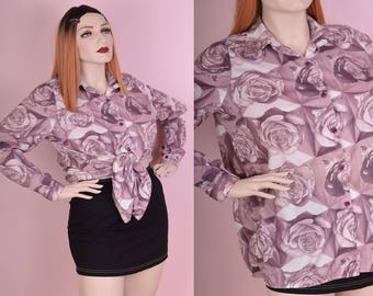 90s Psychedelic Rose Print Button Down Shirt/ XL/ 1990s/ Long Sleeve