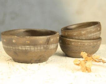 Small Ceramic dipping bowl set of 3. Earthy sauce, jam serving dishes. An Elegant gift for her, For Sushi, vegetable dip.