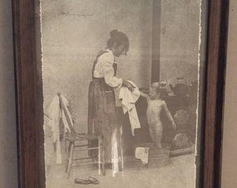 "R. Hendrickson  vintage Sepia Art print framed   ""Drying up after the bath "" Rustic decor home decor  collectible art bathroom decor"