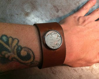 BuffaLo NickeL IndiaN HeaD ReaL CoiN BrowN LeatheR BraceLet Cuff BuckLe AdjustabLe
