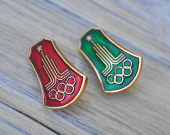 "Vintage Soviet Russian badges,pins.""Moscow Summer Olympics 1980"" Set of 2."