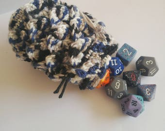 Scale Dice bag icy blue pouch / crocodile stitch