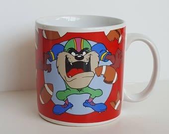 Looney Tunes Tasmanian Devil Football Mug Cup 1995 Warner Bros