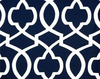 "Two 96"" x50""  Custom Designer Curtain Panels - Trellis Morrow  - Navy Blue"