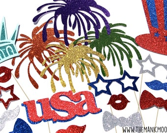 DELUXE 4th of July Photo Booth Props - GLITTER 18 piece prop set - Birthdays, Weddings, Parties - Photobooth Props