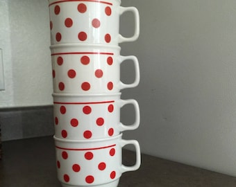 Zolnay coffee mugs stacking mcm teapot RED POLKA DOT red or dark orange retro red polka dot china modernist design