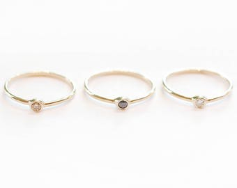 14K Gold Ring - Diamond Gold Ring - Delicate Minimalist Gold Diamond Ring - White, Black or Champagne Diamond - Thin Gold Ring - Simple Ring