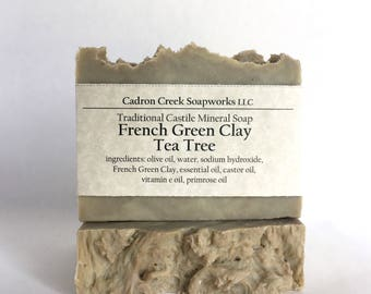 French Green Clay Soap Tea Tree Soap, Natural Cleansing Clay, Essential Oils, Vegan, Extra Virgin Olive Oil