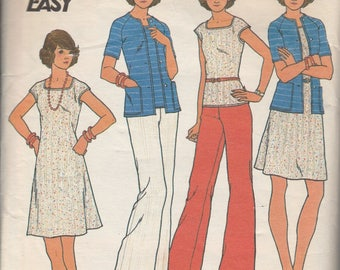 1970's Sewing Pattern Butterick 3583 Misses sweater, top, dress, & pants knit bust 34