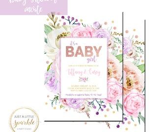 Baby Shower Invite, Printable Baby Shower invite, Floral Baby Shower invitation, Baby Shower printable