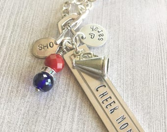 CHEER MOM Personalized Hand Stamped Heart Toggle Necklace