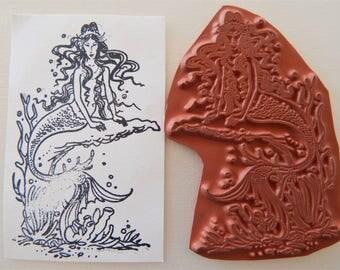 Mermaid Unmounted Rubber Stamp Sea Siren g
