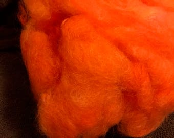 "ALPACA Fleece/Fiber 3 oz. Hand Painted ""Tangerine"" Washed and Picked"