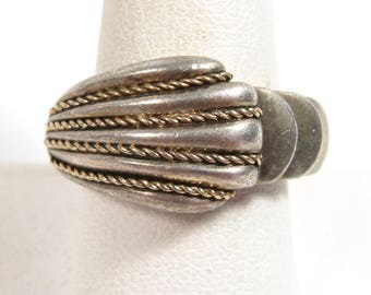 Alwand Vahan Woven Braided Sterling Silver & 14k Yellow Gold Pearl Ring Size 7