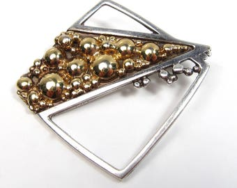 Vintage Signed Sterling Silver Vermeil Artisan Brooch Pin Modernist Gold Bubbles