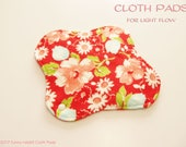 100% Cotton Flannel Prints Cloth Pad  For Light Flow  -Swoon in Ruby-