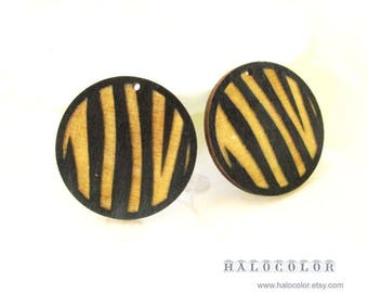 Dyeing Series - 4 pcs  Variety of Colors Laser Cut Carved Zebra Skin Wood Charm/ Engraved Wood Earring Supplies / Wood Cabochons  CW01