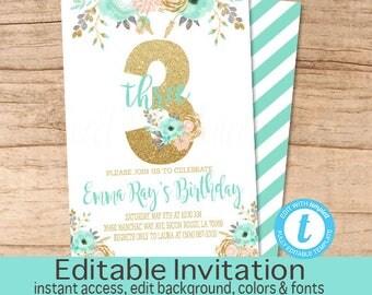 Third Birthday Invitation, Peach Mint Gold Floral Invitation, Birthday invitation, Editable Birthday Invitation, Templett, Instant Download