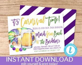 Mardi Gras King Cake Invitation, Mardi Gras celebration, Editable Carnival Time template, laissez les bon temps rouler, Instant Download