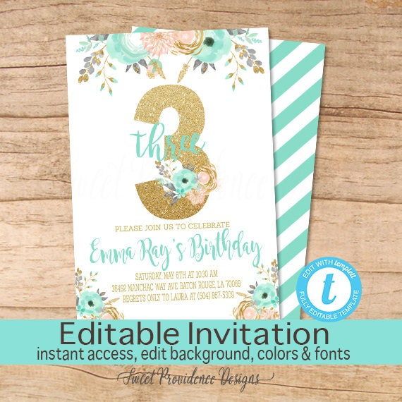 third birthday invitation peach mint gold floral invitation