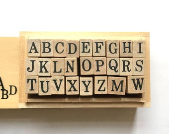 alphabet rubber stamp set with wooden box. uppercase letter stamps. japanese rubber stamps. planner stamps. size M. set of 26 letters