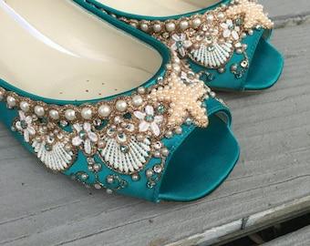 SALE - Mermaid Peep Toe Flats - Lace, Crystals and Pearls