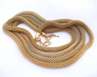 Vintage Trifari Gold Tone Mesh Necklace 1960s 1970s Retro Jewelry 36 Inches Opera Length Rope Chain