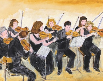 Acrylic painting of String Musicians