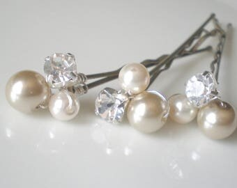 Bridal Pearl Hair Jewelry. Rhinestone Pearl Hair Pins. Prom. Bridal Shower GIFT. Mother of the Bride. Flower Girl hair pins. Taupe Pearls