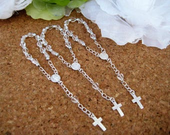 Clear Mini Rosary for Christening Favors, Baptism Favors, Religious favors, First Communions Celebration - Set of 12
