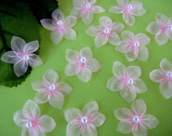 "Pink Organza Flowers Appliques for Crafting, Sewing, Doll Clothes, Embellishment - 3/4"" (2 cm), 30 pieces"