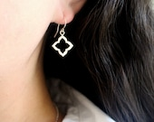 Your New Favorite Sterling Silver Earrings, Small Moroccan Flower Earrings, Simple Dangling Silver Earrings, Sterling Silver Dangle Earrings