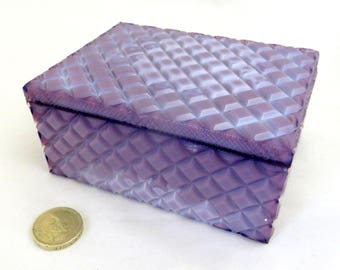 Art Deco Marble Glass Box, Czech Bohemian Opaque Geometric Purple Lithyalin Glass Lidded Trinket Jewelry Jewellery Box 1930s