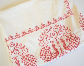 "Vintage Cross Stitch Tablecloth Off White Linen with Red Cross-Stitch Peacock Design, Hand Embroidered, 64"" x 52"""