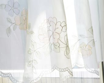 "Short Sheer Curtain Panel Delicate White with Floral Embroidery 30"" wide x 25"" long"