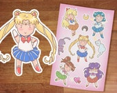 Stickers / Sailor Moon Stickers / Sailormoon / Sticker Set / Inner Senshi / Bishoujo / Kawaii / Sailor Moon Mars Mercury Venus Jupiter Luna