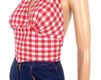 Adorable Vintage Red Gingham Cropped Halter Neck Top In Size Medium